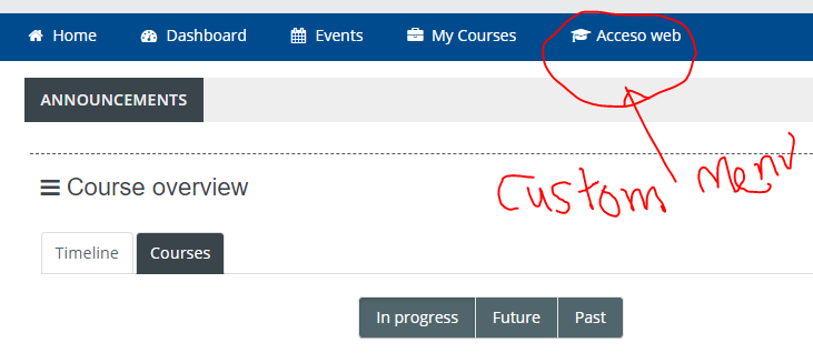 icon for custom menu in Moodle