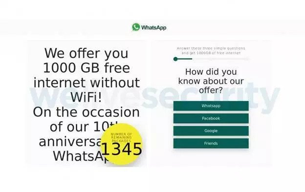 WhatsApp 1000GB free data is a SCAM